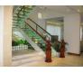 Cầu thang vách kính tay vịn gỗ CTK - G004