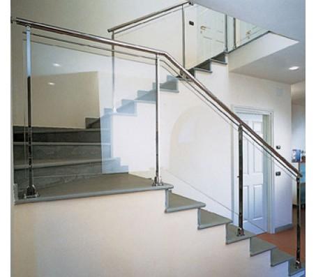 Cầu thang cách kính tay vịn Inox CTK- I004
